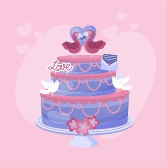 토퍼와 평면 디자인 웨딩 케이크