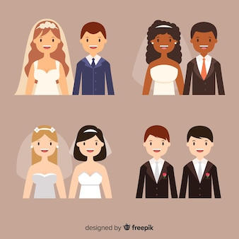 Flat design of wedding couple collection
