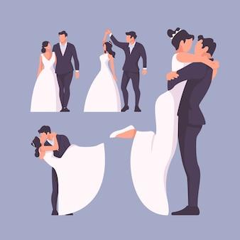 Flat design wedding couple collection