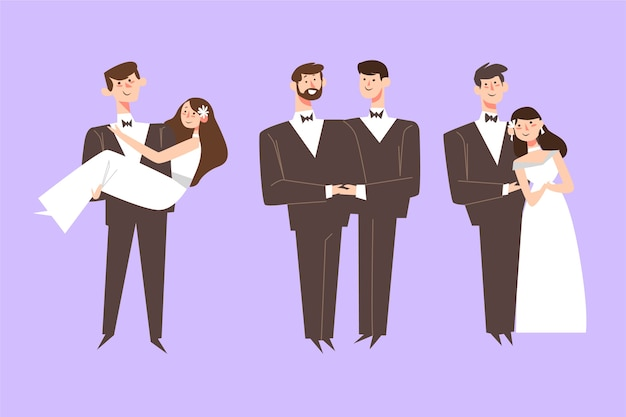 Flat design wedding couple collection