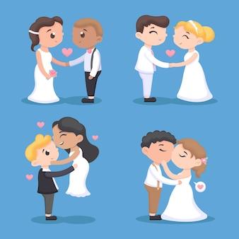 Плоский дизайн свадебных пар