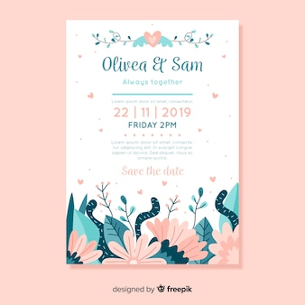 Flat design wedding invitation template with flowers