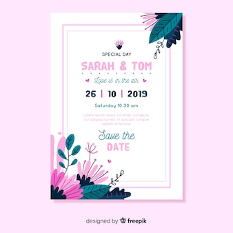 Flat design wedding invitation template with pink frame