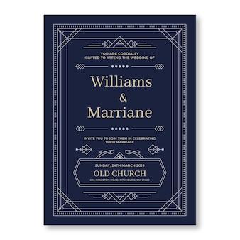 フラットデザインの結婚式の招待状のテンプレート