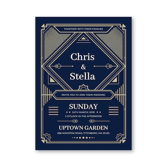 Шаблон приглашения на свадьбу в плоском дизайне