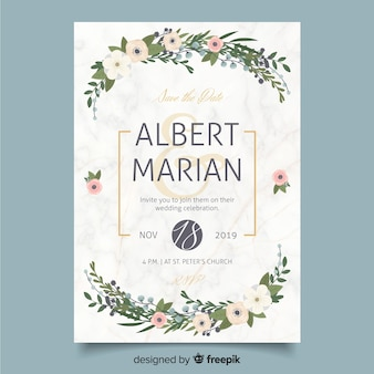 Flat design of wedding invitation template