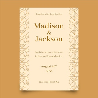 Flat design wedding invitation template