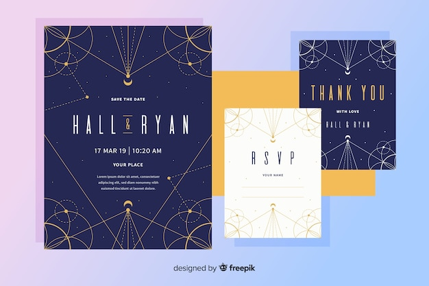 Flat design wedding invitation with dots and lines