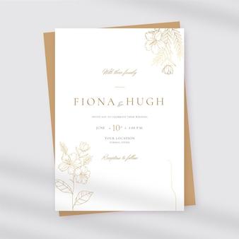 Flat design wedding invitation