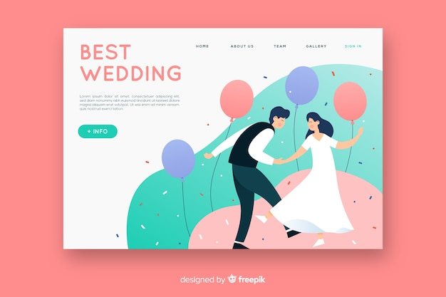 Flat design wedding landing page template