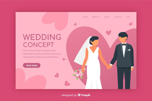 Flat design wedding landing page