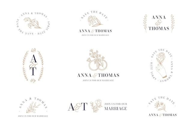 Flat design wedding logo pack
