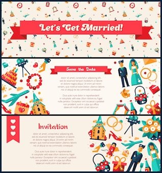 Flat design wedding and marriage invitation banners