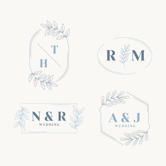 Flat design wedding monogram collection