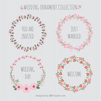 Flat design wedding ornaments collection
