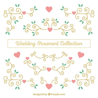 Collezione di ornamenti di nozze design piatto