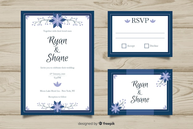 Flat design wedding stationery template