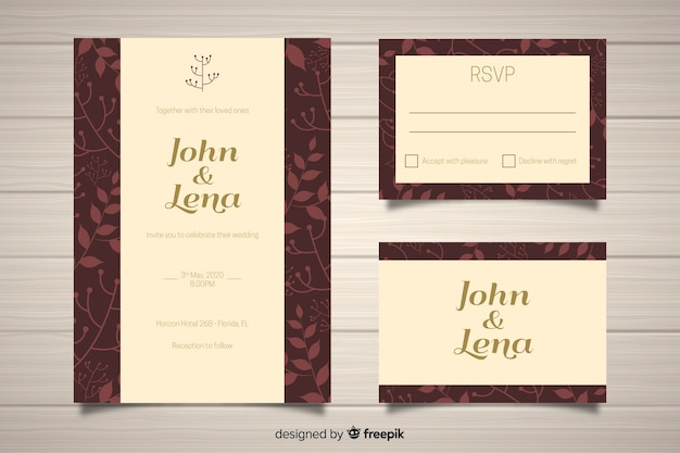 Flat design wedding stationery template