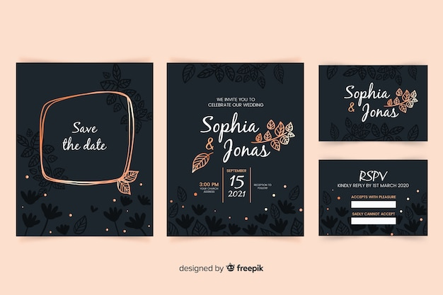Flat design of wedding stationery template