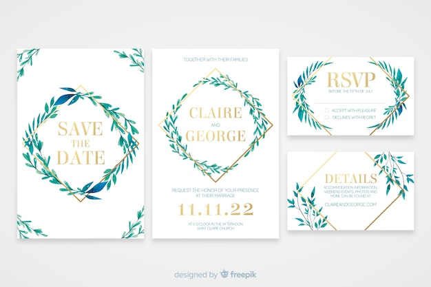 Flat design of wedding stationery template