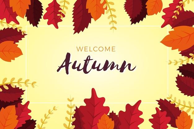 フラットなデザインようこそ秋の背景
