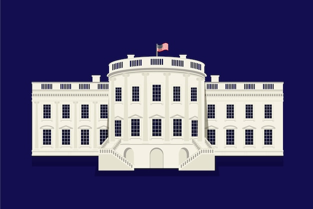 Flat design white house on dark background