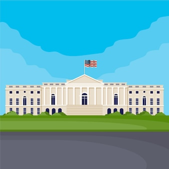 Flat design white house and flag