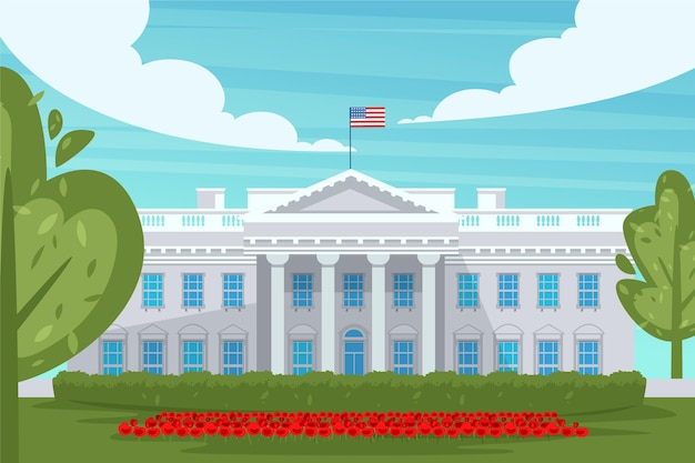 Flat design white house and flowers