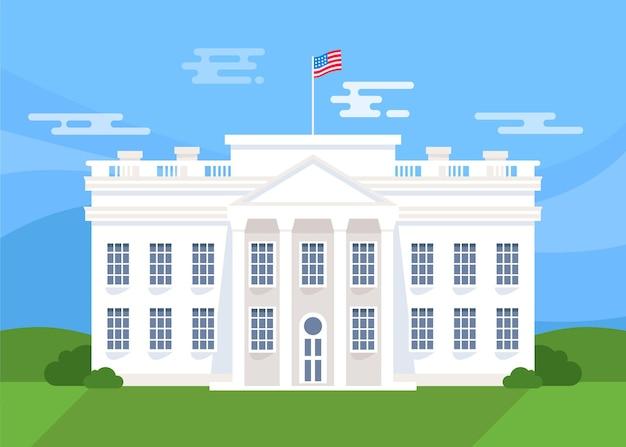 フラットなデザインの白い家の正面図と旗