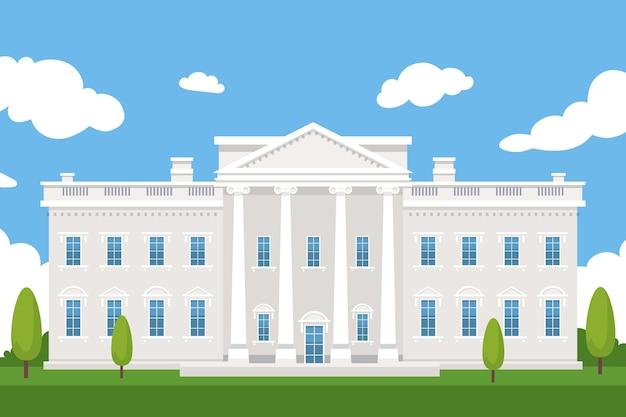 フラットなデザインの白い家の正面図と木々