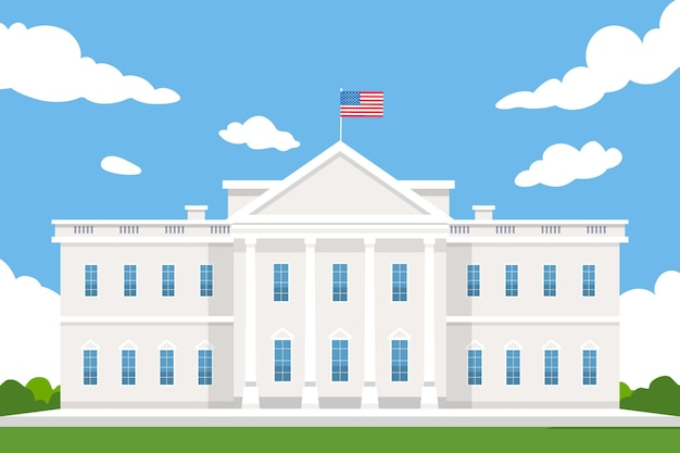 Flat design white house front view trademark