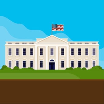 Flat design white house front view