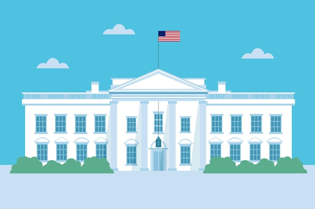 Flat design white house and sky