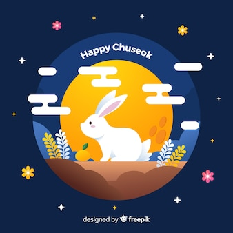 Flat design white rabbit on chuseok
