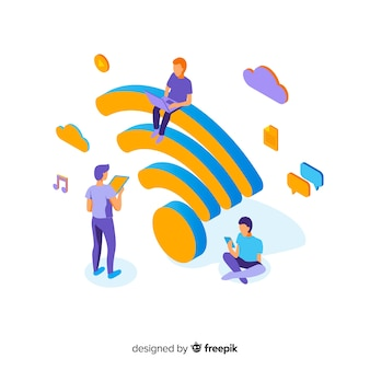 Flat design wifi network concept