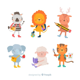 Flat design wild animal collection