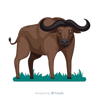 Flat design of wild buffalo