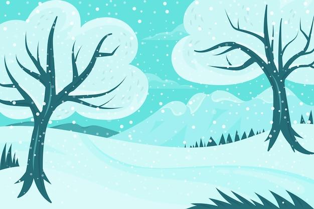 森とフラットなデザインの冬の背景