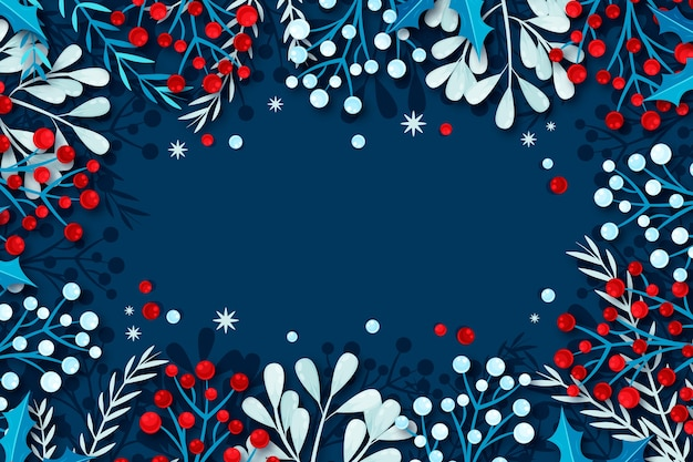 Flat design winter background with natural frame