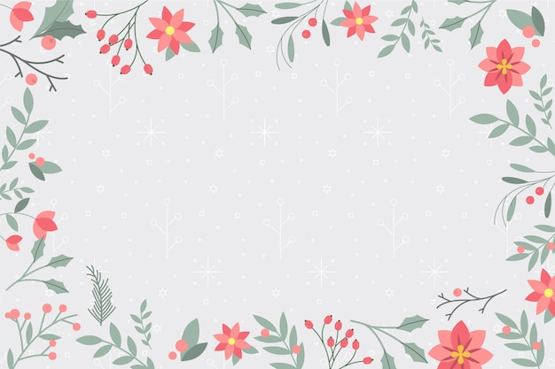 Flat design winter background with plants and leaves
