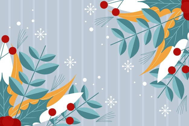 Flat design winter background with plants
