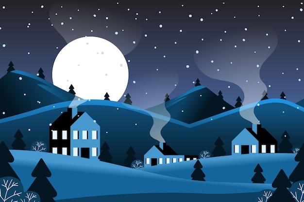 町とフラットなデザインの冬の背景