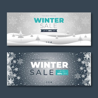 Flat design winter banners template