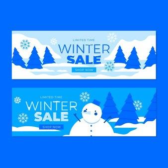 Плоский дизайн зимних баннеров