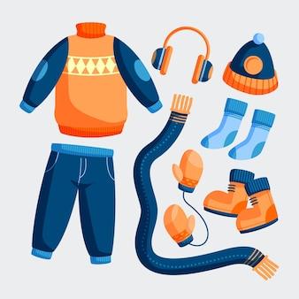 평면 디자인 겨울 의류 및 필수품