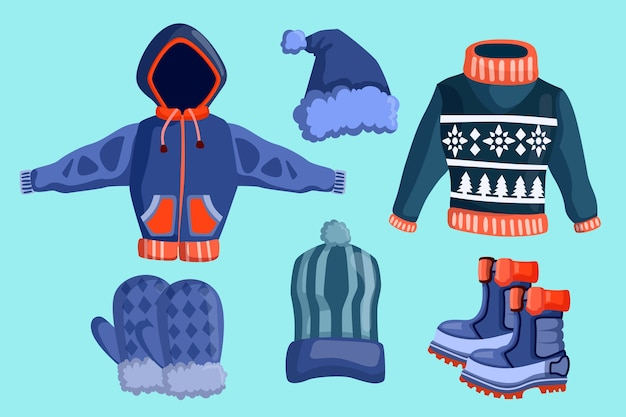 Flat design winter clothes and essentials