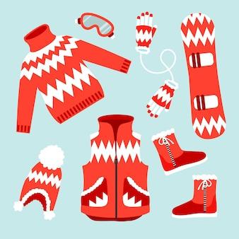 Flat design winter clothes and essentials