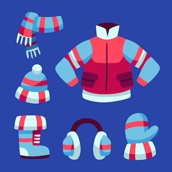 Confezione di vestiti invernali design piatto
