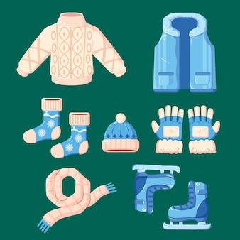 Vestiti invernali di design piatto