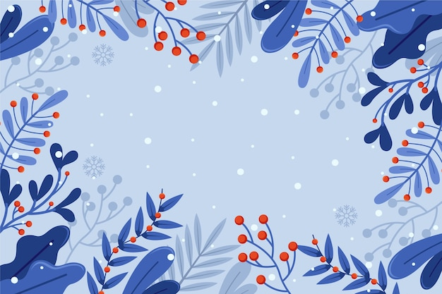 Flat design winter flowers background with copy space